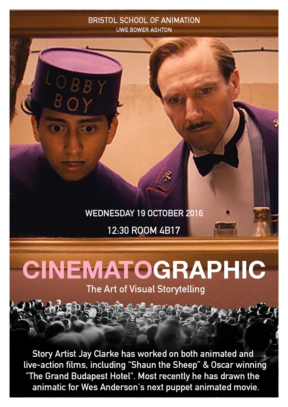 "A talk by Jay Clarke ""Cinematographic: The Art of Visual Storytelling"""